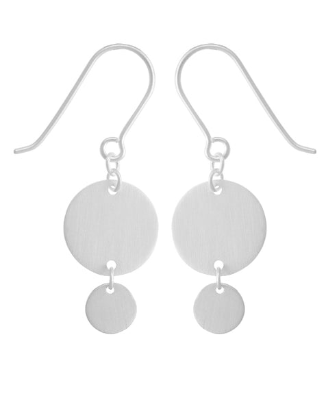 Large & Small Flat Discs Earrings in Silver
