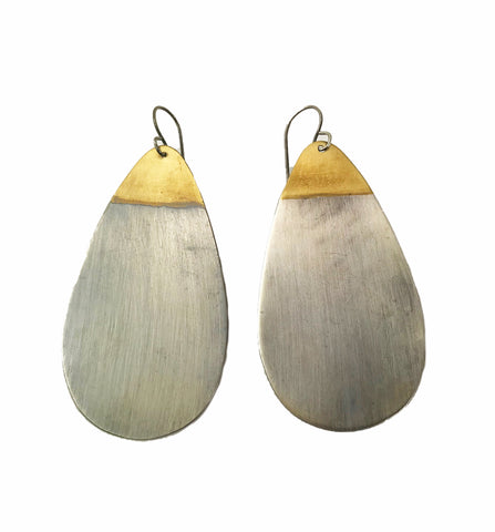 Oxidized Silver and Brass Drop Earrings