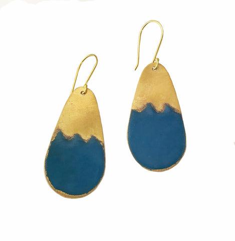 Small Teal Stencil Earrings