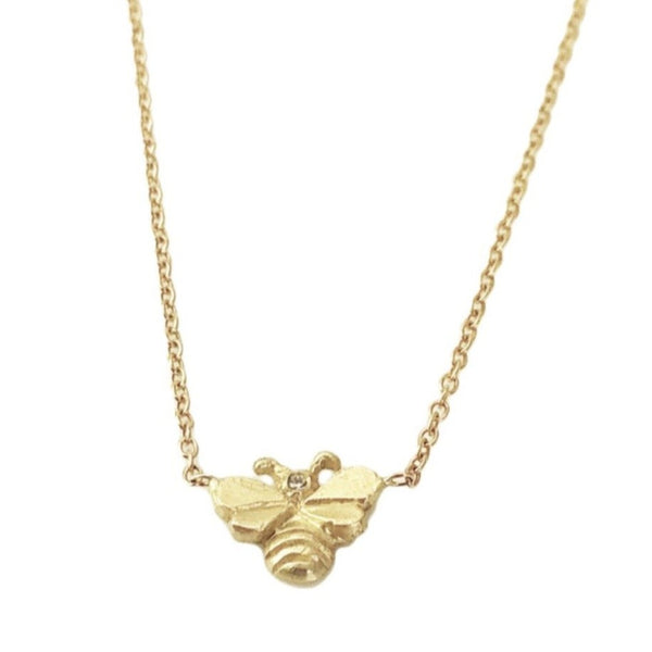 14k Tiny Bee with Diamond Necklace
