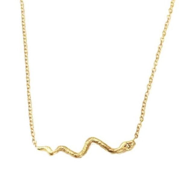 14k Snake with Diamond Eyes Necklace