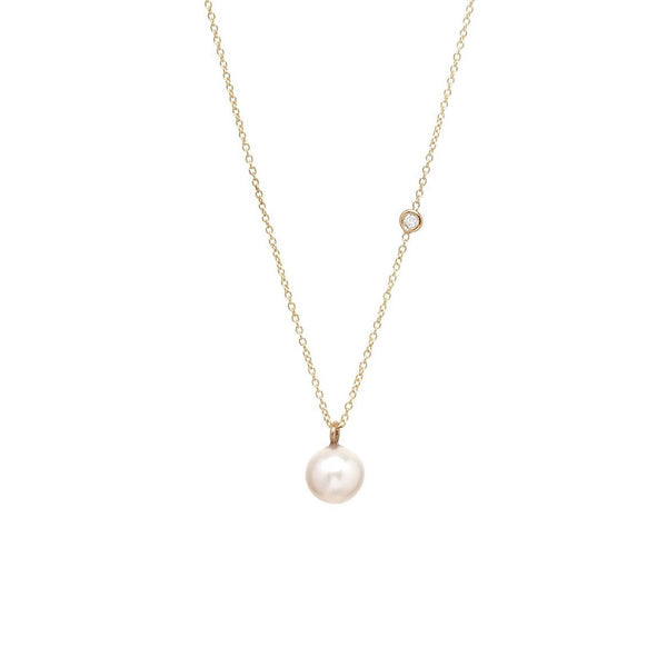 8mm Pearl and Floating Diamond Necklace