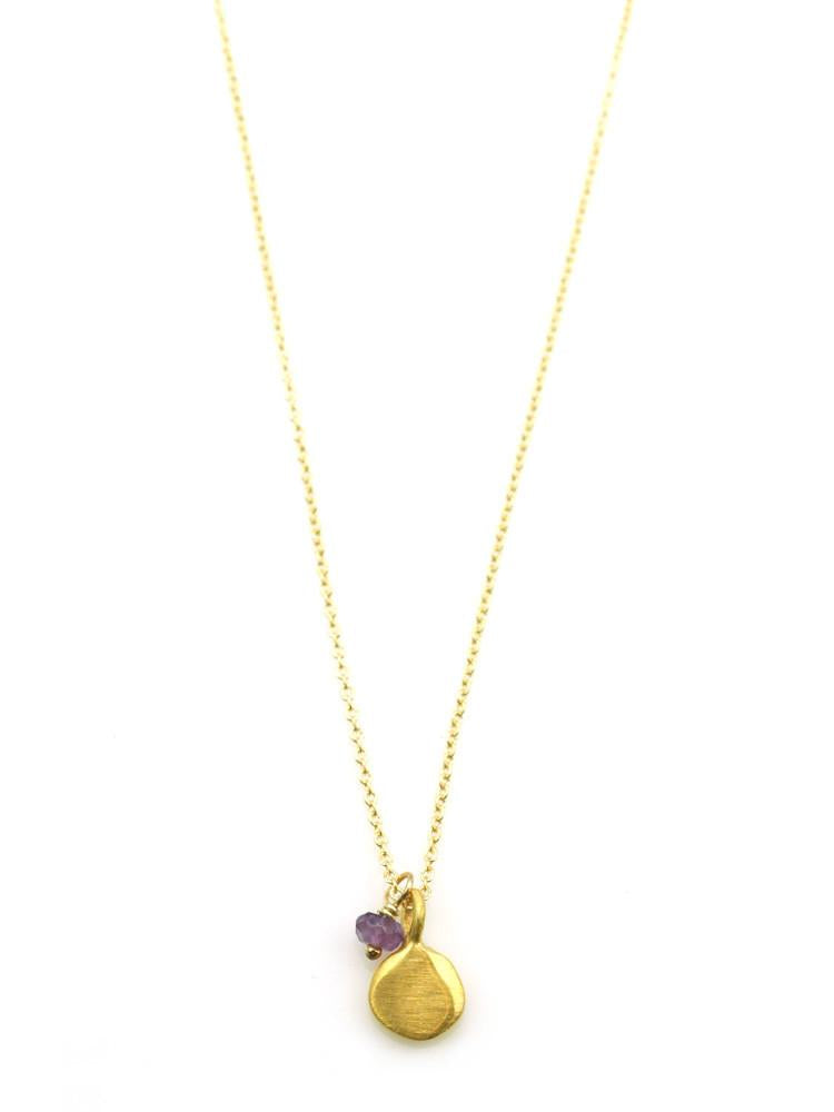 small tab w.little stone. vermeil necklace