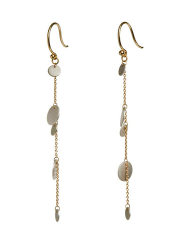 confetti cascade drop earrings SS & 14k