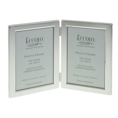 4x6 Double Vertical Silverplate Photo Frame