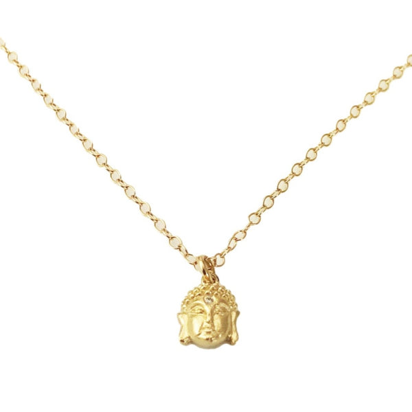14k Buddha Head with Diamond Necklace