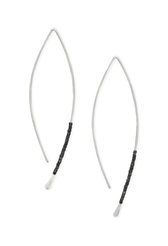 Crescent Earrings with Oxidized Silver Beads