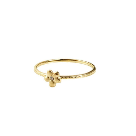 14k Flower with Diamond Ring