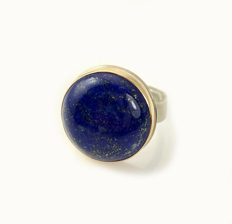 round smooth lapis ring