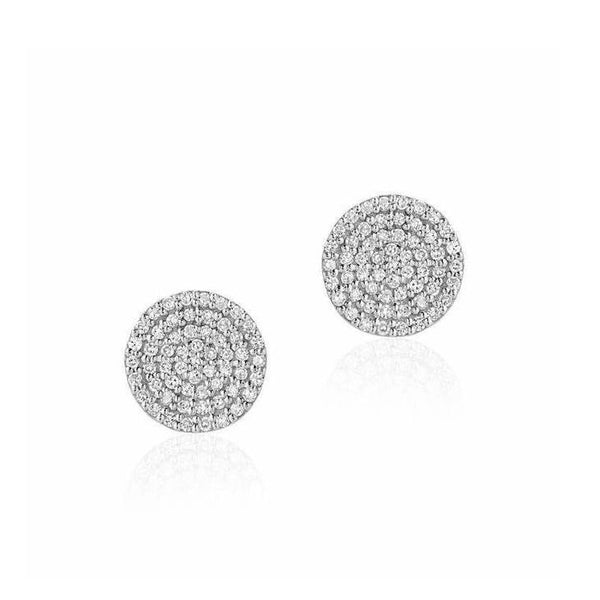 Large Round Pave Diamond Posts - 8mm Diameter