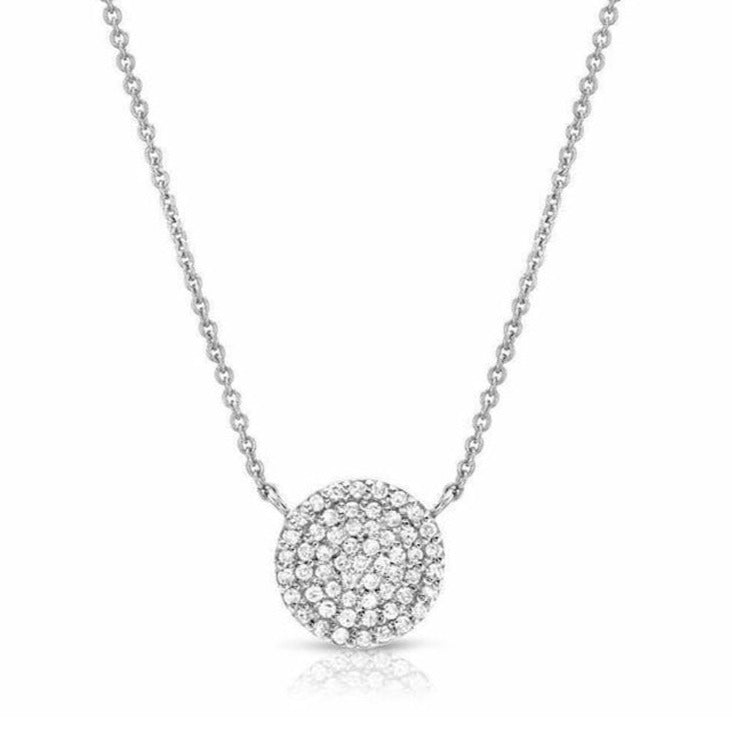 Medium Pave Disc Necklace - 8mm Diameter