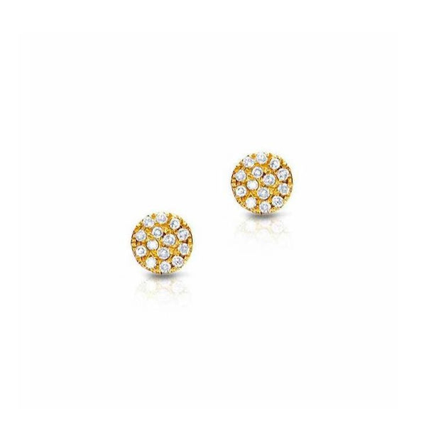 Petite Round Pave Diamond Post Earrings - 4.5mm Diameter