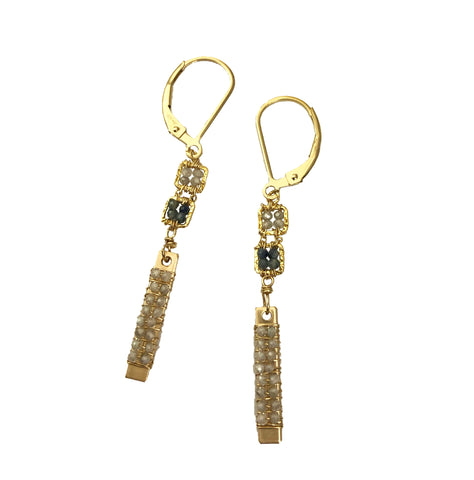 Earrings with Zircon and Sapphire