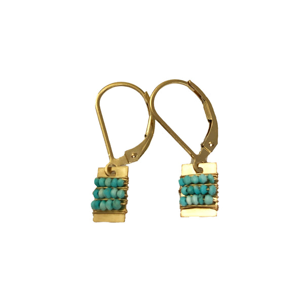 Little Tab Earrings with Turquoise