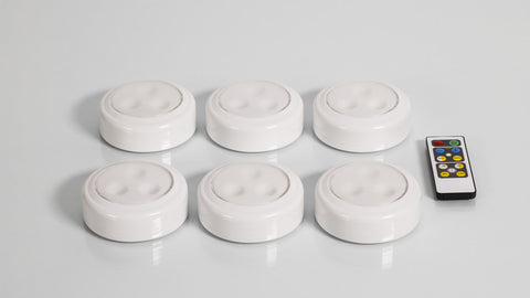 LED PUCK LIGHT - 6 PACK WITH REMOTE AND 18 AA BATTERIES*