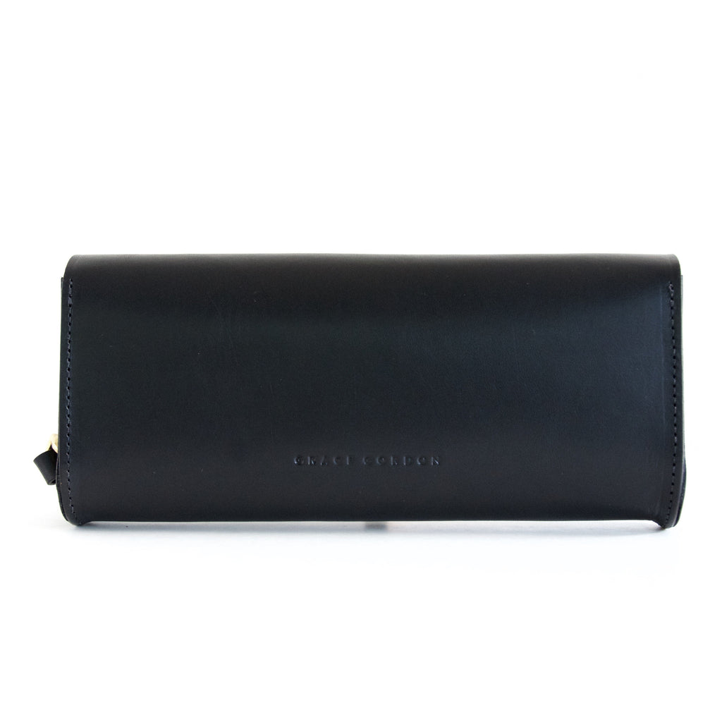Black Leather Cara Clutch