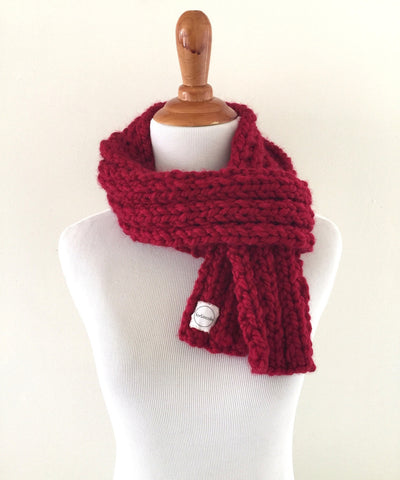 Ribbed 16 Holiday Red Scarf