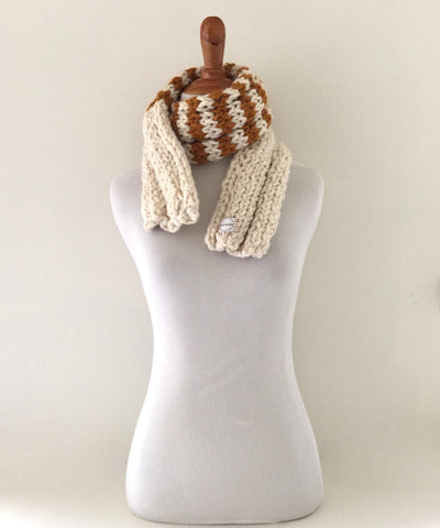 Ribbed 20 Caramel Stripe Scarf