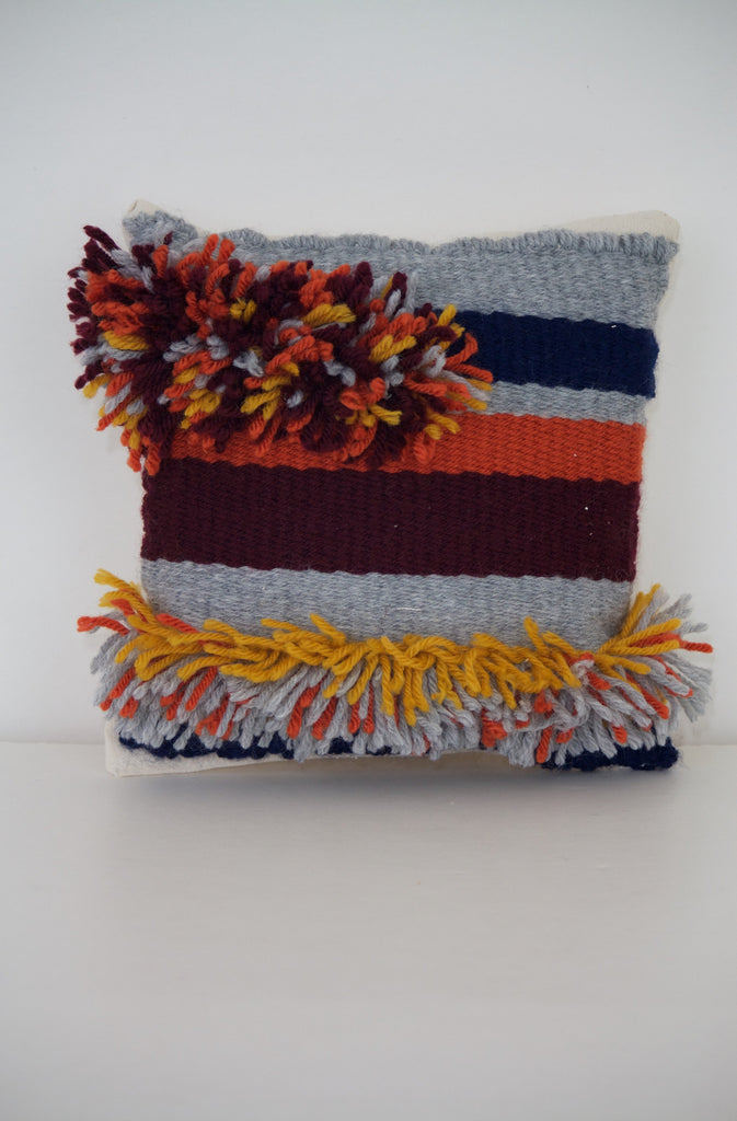 Striped Fringe Miniature Pillow