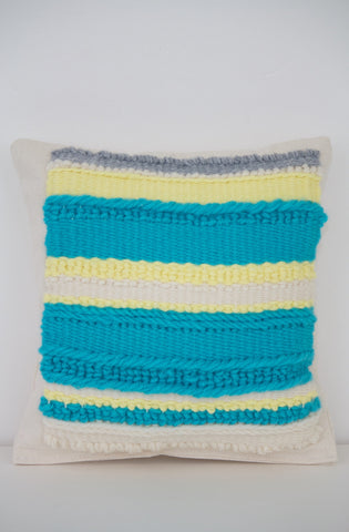 Teal Striped Miniature Pillow