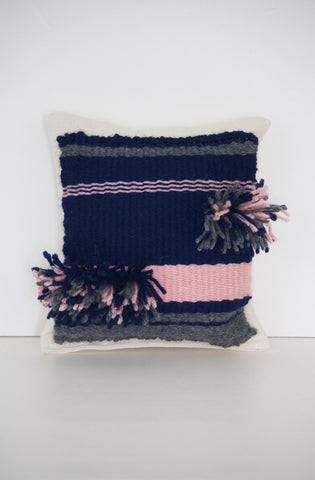 Blue Pink Striped Miniature Decor Pillow