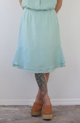 Cotton + Silk Striped Green Skirt