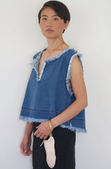 Blue Denim Sleeveless Top
