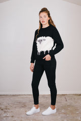 Black Knit Lamb Sweater