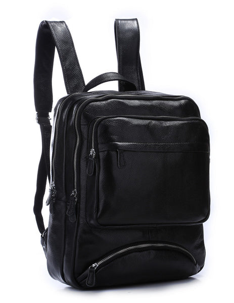 TIDING Black Leather Backpack Men with Laptop Compartment
