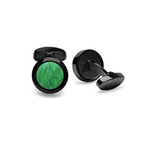 Atlantic Salmon Leather Cufflinks Black-Tone ▪ Light Green