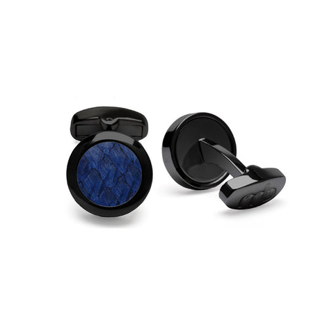 Atlantic Salmon Leather Cufflinks Black-Tone ▪ Dark Blue
