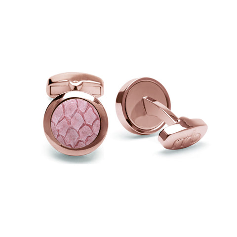 Atlantic Salmon Leather Cufflinks Rose Gold-Tone ▪ Light Pink