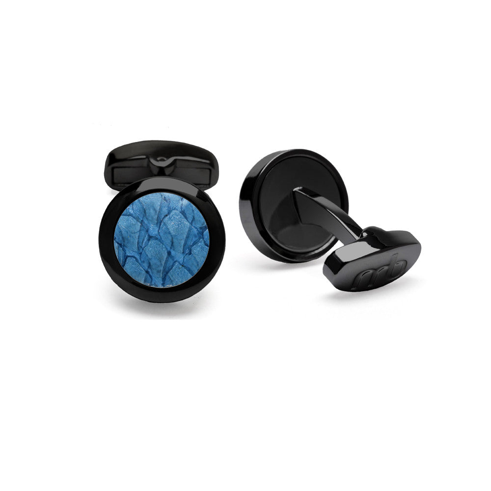 Atlantic Salmon Leather Cufflinks Black-Tone ▪ Light Blue - Marlín Birna Ltd.