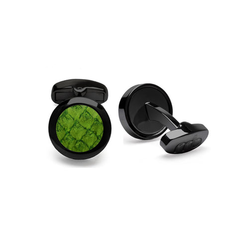 Atlantic Salmon Leather Cufflinks Black-Tone ▪ Olive Green