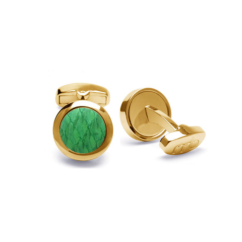 Atlantic Salmon Leather Cufflinks Gold-Tone ▪ Light Green - Marlín Birna Ltd.