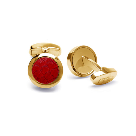 Atlantic Salmon Leather Cufflinks Gold-Tone ▪ Red - Marlín Birna Ltd.