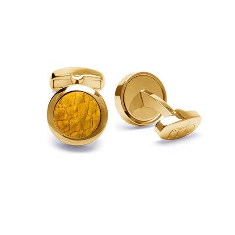 Atlantic Salmon Leather Cufflinks Gold-Tone ▪ Yellow