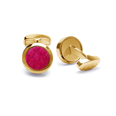 Atlantic Salmon Leather Cufflinks Gold-Tone ▪ Fuchsia - Marlín Birna Ltd.