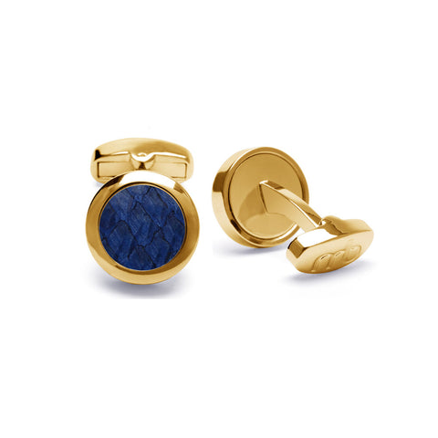 Atlantic Salmon Leather Cufflinks Gold-Tone ▪ Dark Blue - Marlín Birna Ltd.