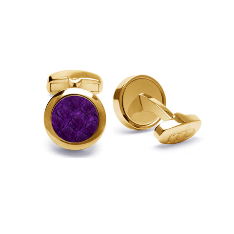 Atlantic Salmon Leather Cufflinks Gold-Tone ▪ Purple