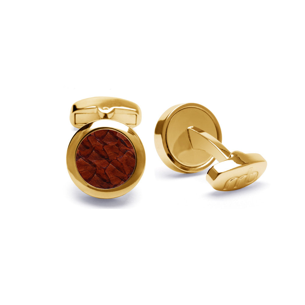 Atlantic Salmon Leather Cufflinks Gold-Tone ▪ Cognac - Marlín Birna Ltd.
