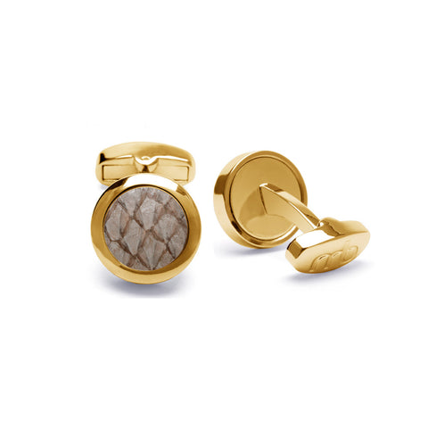 Atlantic Salmon Leather Cufflinks Gold-Tone ▪ Beige - Marlín Birna Ltd.