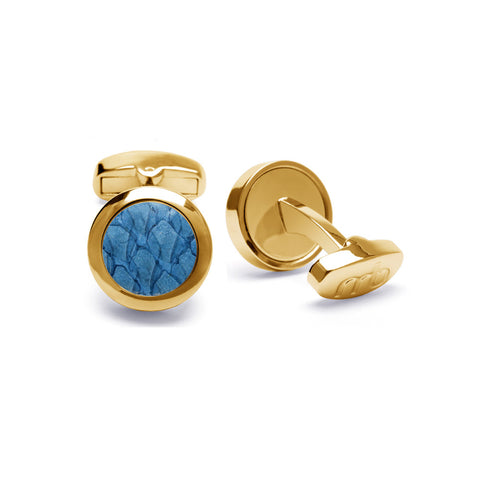 Atlantic Salmon Leather Cufflinks Gold-Tone ▪ Light Blue