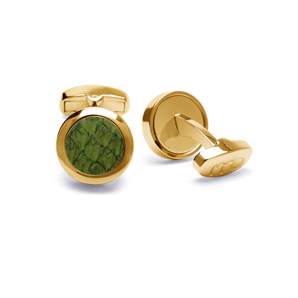 Atlantic Salmon Leather Cufflinks Gold-Tone ▪ Olive Green - Marlín Birna Ltd.