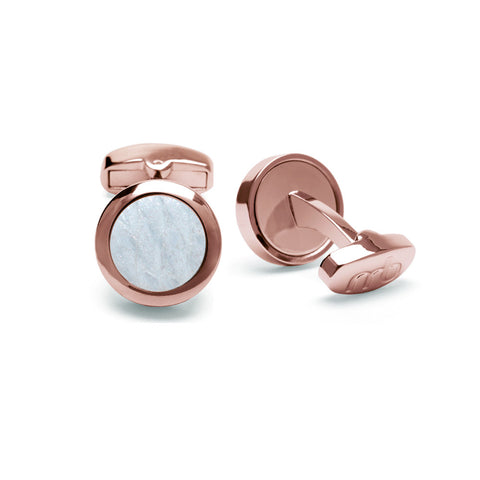 Atlantic Salmon Leather Cufflinks Rose Gold-Tone ▪ White