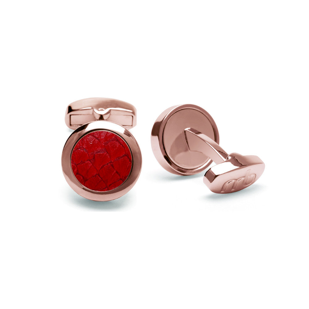 Atlantic Salmon Leather Cufflinks Rose Gold-Tone ▪ Red - Marlín Birna Ltd.