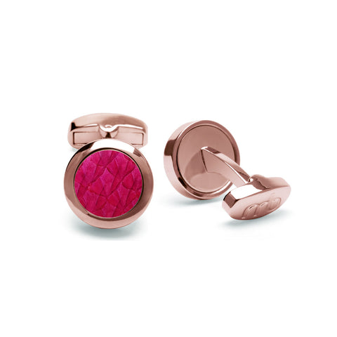Atlantic Salmon Leather Cufflinks Rose Gold-Tone ▪ Fuchsia - Marlín Birna Ltd.