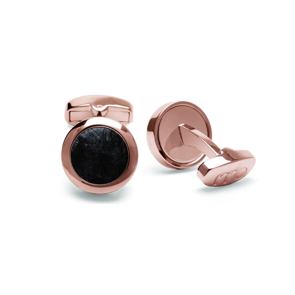Atlantic Salmon Leather Cufflinks Rose Gold-Tone ▪ Black - Marlín Birna Ltd.