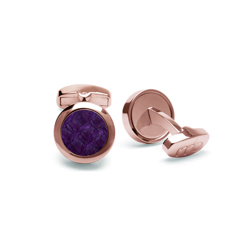 Atlantic Salmon Leather Cufflinks Rose Gold-Tone ▪ Purple