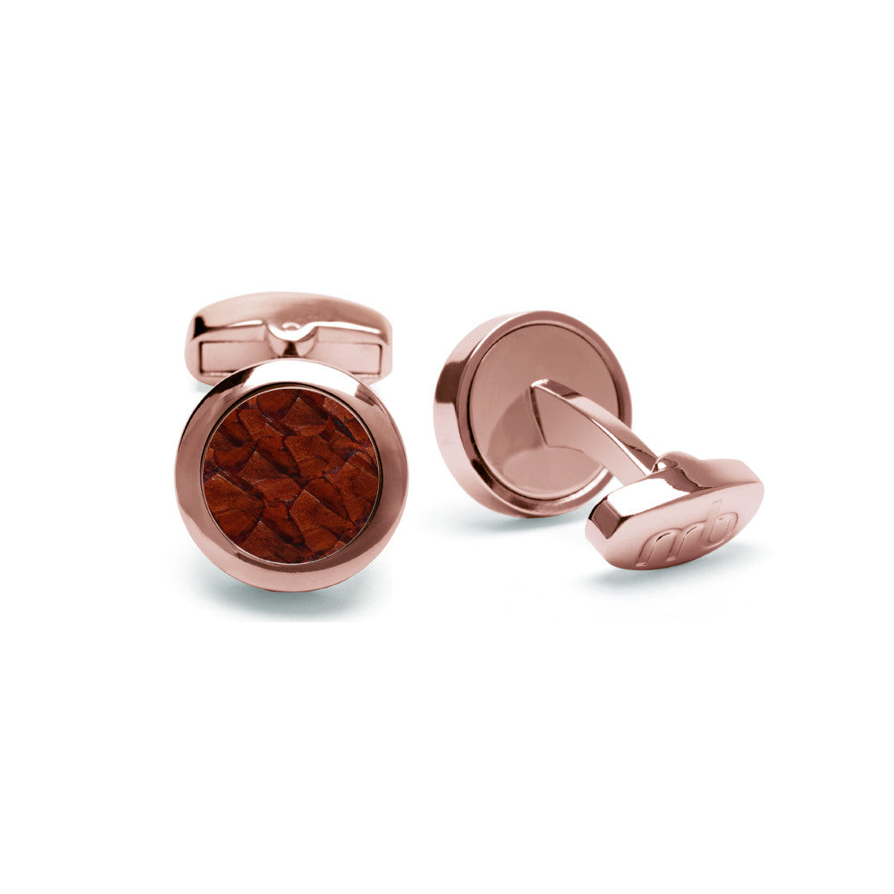 Atlantic Salmon Leather Cufflinks Rose Gold-Tone ▪ Cognac - Marlín Birna Ltd.